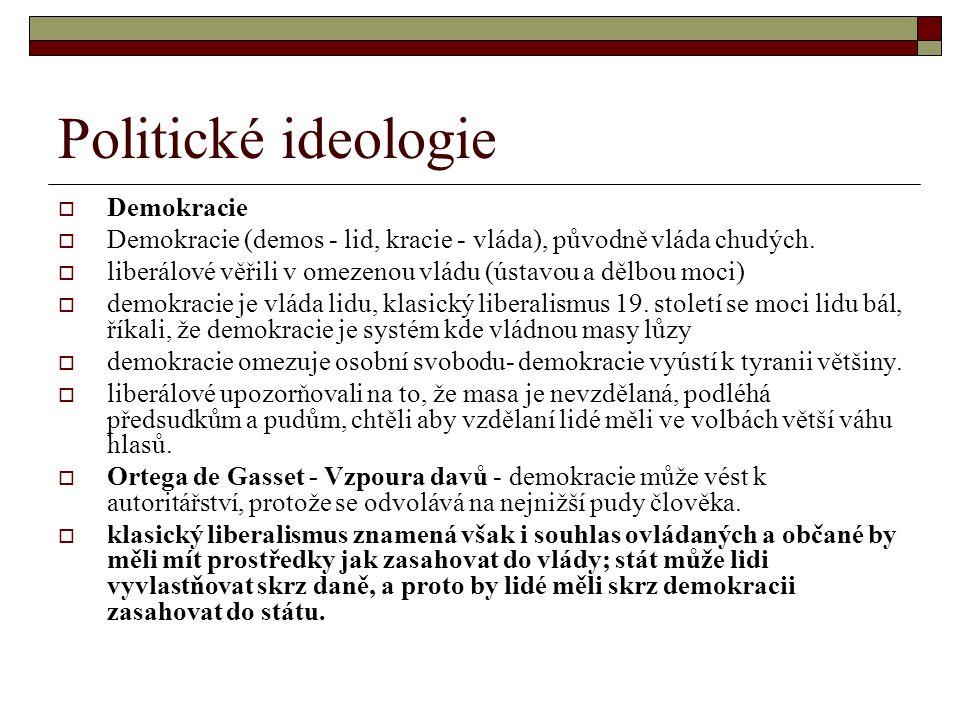 Politické ideologie  Demokracie  Demokracie (demos - lid, kracie - vláda), původně vláda chudých.  liberálové věřili v omezenou vládu (ústavou a dě