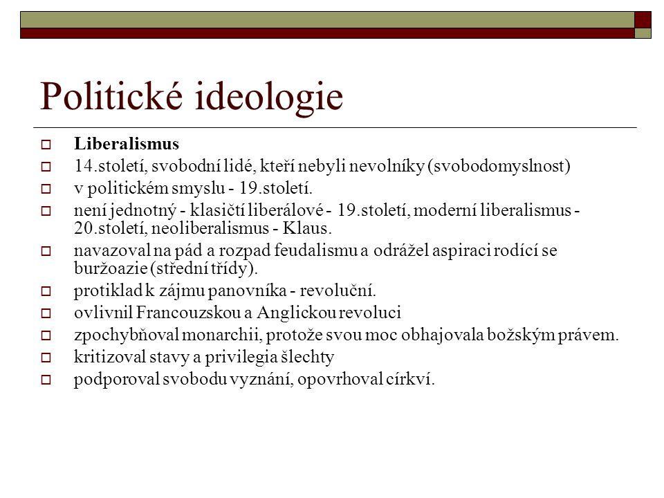 Politické ideologie  Liberalismus  14.století, svobodní lidé, kteří nebyli nevolníky (svobodomyslnost)  v politickém smyslu - 19.století.  není je