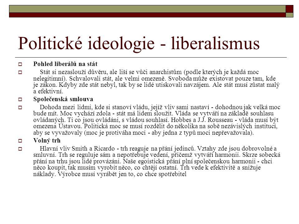 Politické ideologie - liberalismus  Pohled liberálů na stát  Stát si nezaslouží důvěru, ale liší se vůči anarchistům (podle kterých je každá moc nel