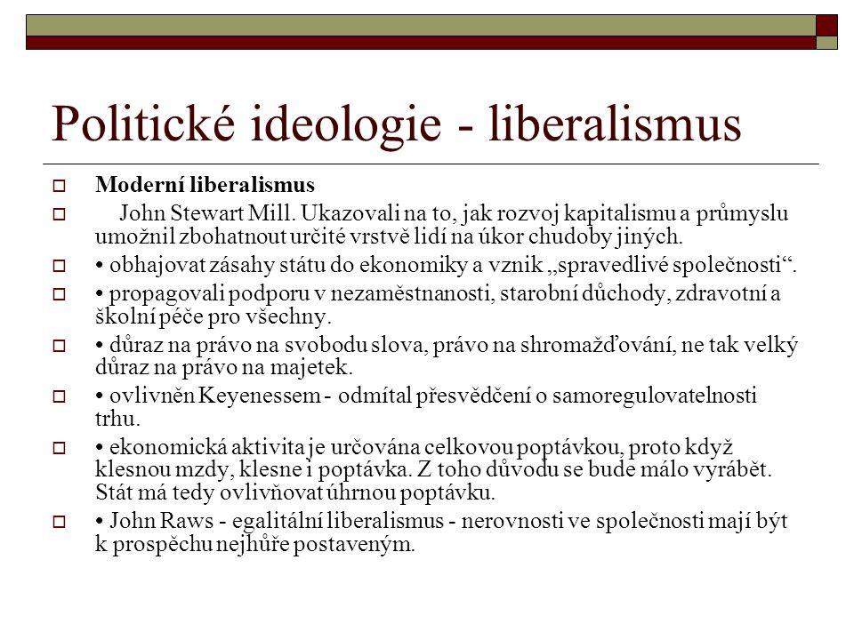 Politické ideologie - liberalismus  Moderní liberalismus  John Stewart Mill. Ukazovali na to, jak rozvoj kapitalismu a průmyslu umožnil zbohatnout u
