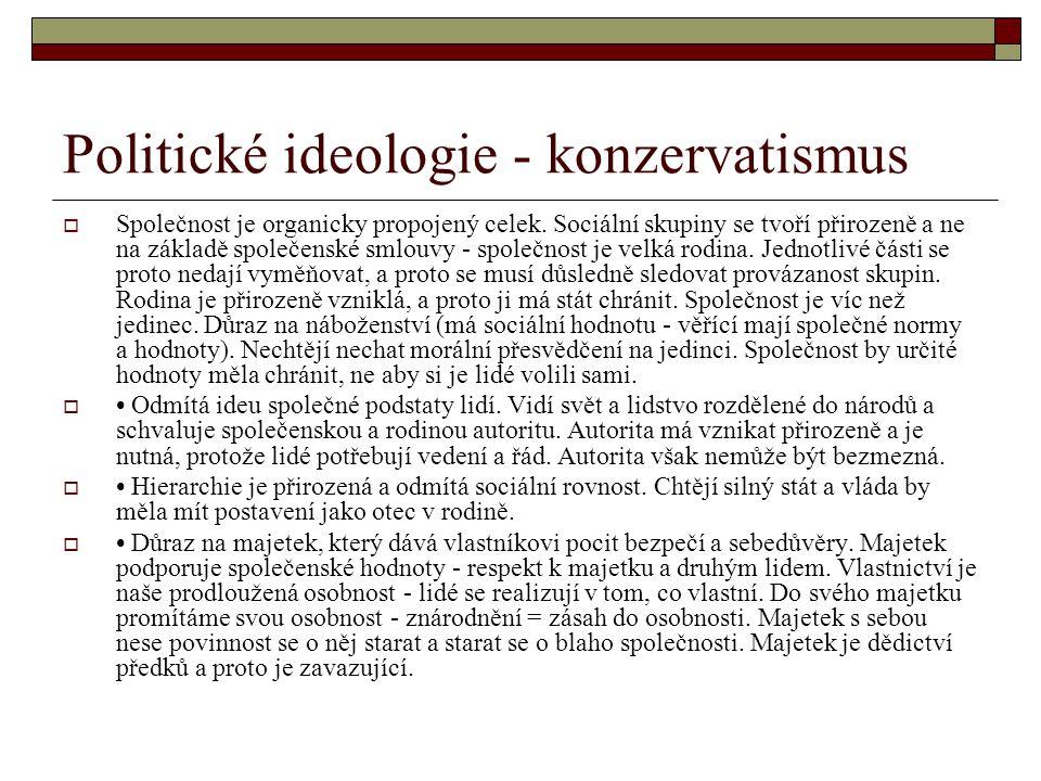 Politické ideologie - konzervatismus  Společnost je organicky propojený celek. Sociální skupiny se tvoří přirozeně a ne na základě společenské smlouv