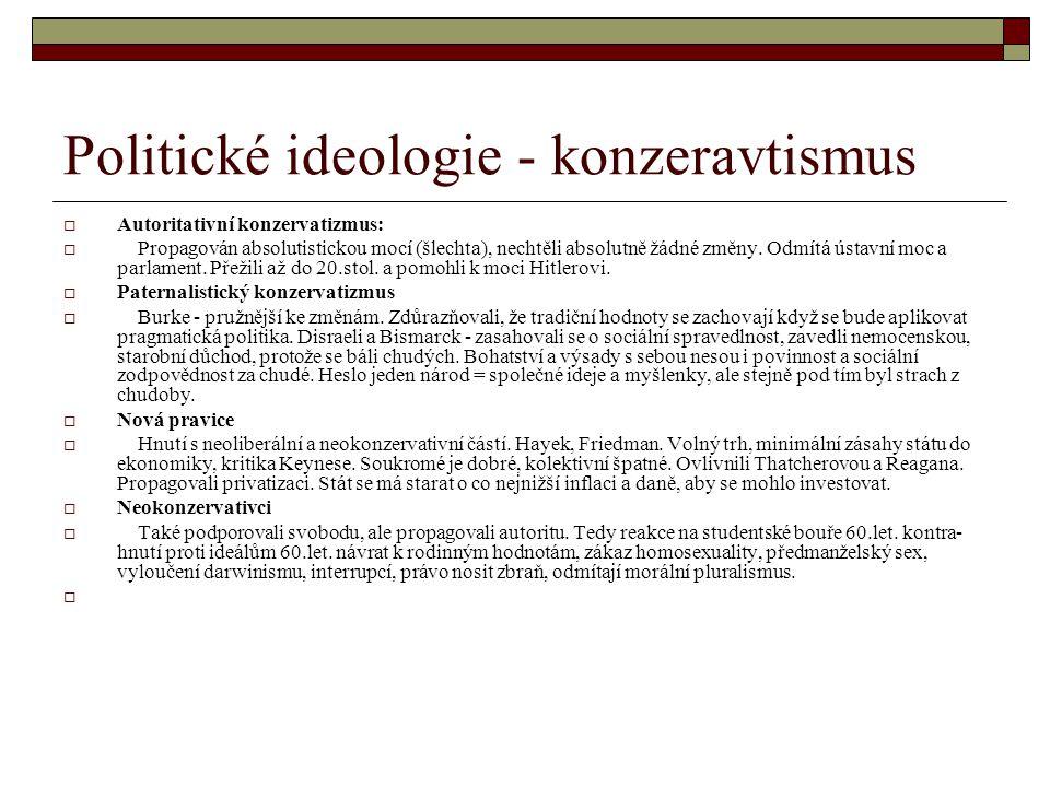 Politické ideologie - konzeravtismus  Autoritativní konzervatizmus:  Propagován absolutistickou mocí (šlechta), nechtěli absolutně žádné změny. Odmí