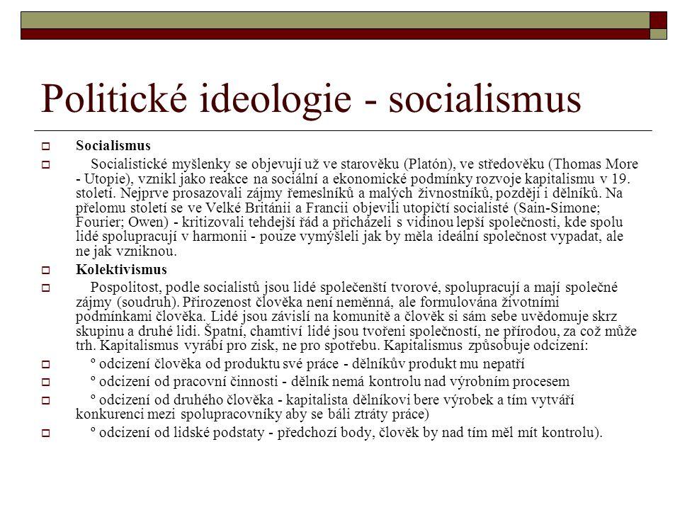 Politické ideologie - socialismus  Socialismus  Socialistické myšlenky se objevují už ve starověku (Platón), ve středověku (Thomas More - Utopie), v