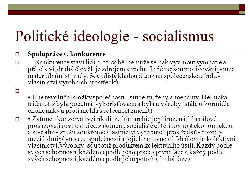 Politické ideologie - socialismus  Spolupráce v. konkurence  Konkurence staví lidi proti sobě, nemůže se pak vyvinout sympatie a přátelství, druhý č