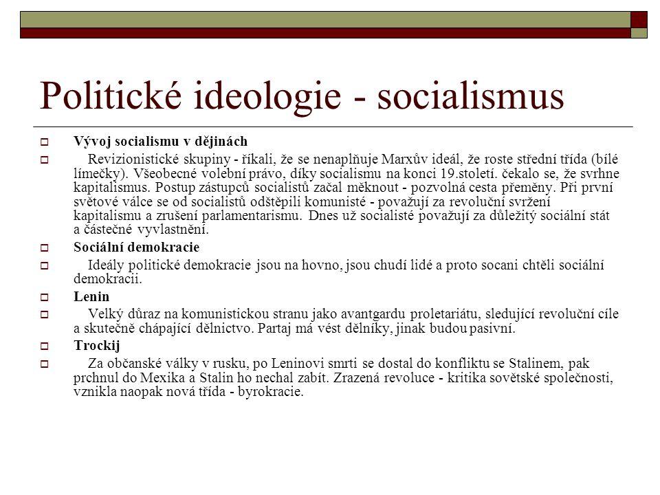 Politické ideologie - socialismus  Vývoj socialismu v dějinách  Revizionistické skupiny - říkali, že se nenaplňuje Marxův ideál, že roste střední tř