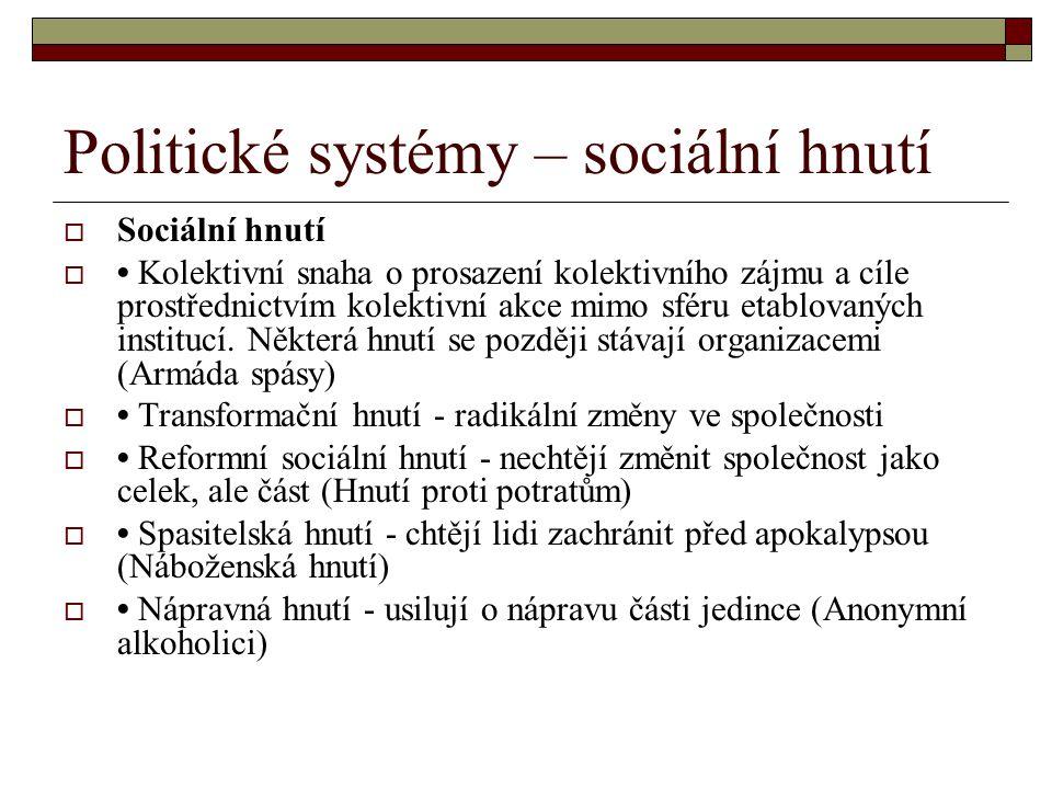Politické systémy – sociální hnutí  Sociální hnutí  Kolektivní snaha o prosazení kolektivního zájmu a cíle prostřednictvím kolektivní akce mimo sfér