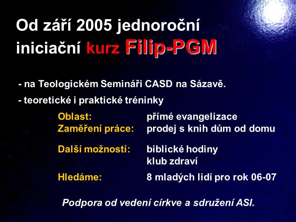 Hledáme:8 mladých lidí pro rok 06-07 Od září 2005 jednoroční Filip-PGM iniciační kurz Filip-PGM - na Teologickém Semináři CASD na Sázavě. - teoretické