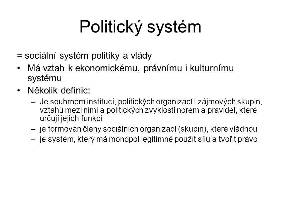 Politický systém = sociální systém politiky a vlády Má vztah k ekonomickému, právnímu i kulturnímu systému Několik definic: –Je souhrnem institucí, po