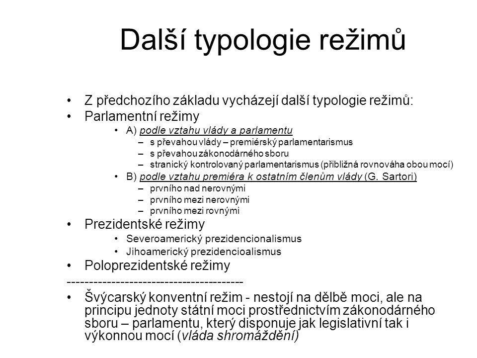 Další typologie režimů Z předchozího základu vycházejí další typologie režimů: Parlamentní režimy A) podle vztahu vlády a parlamentu –s převahou vlády