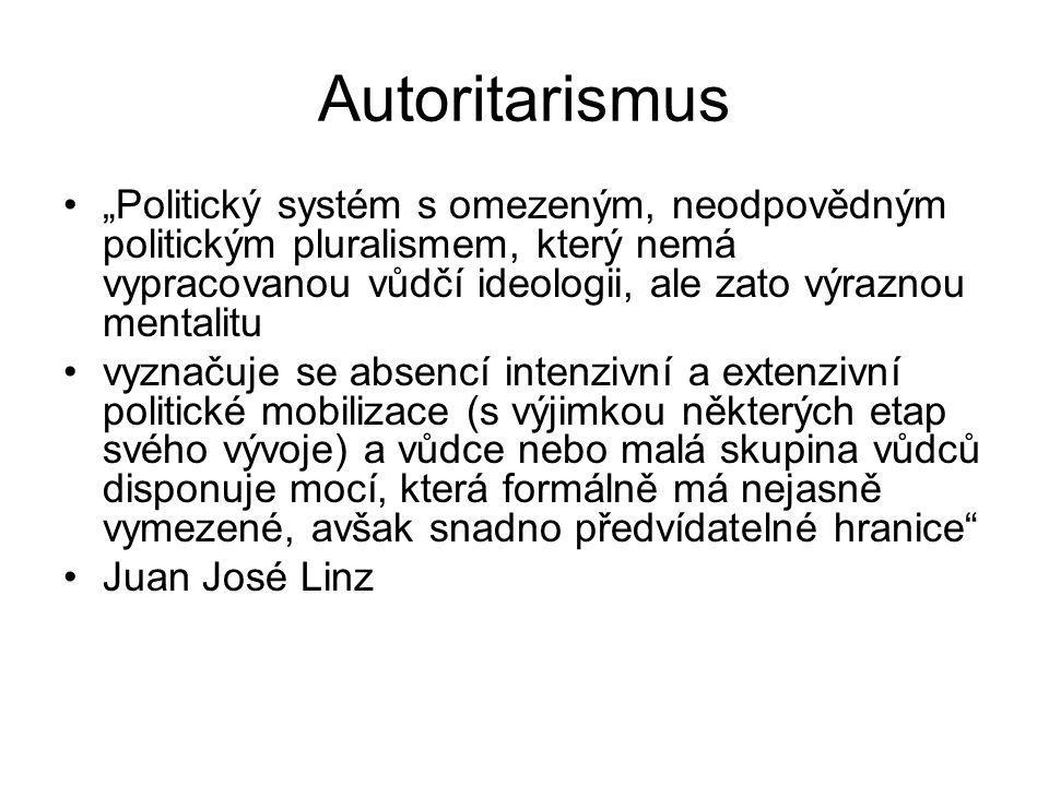 """Autoritarismus """"Politický systém s omezeným, neodpovědným politickým pluralismem, který nemá vypracovanou vůdčí ideologii, ale zato výraznou mentalitu"""
