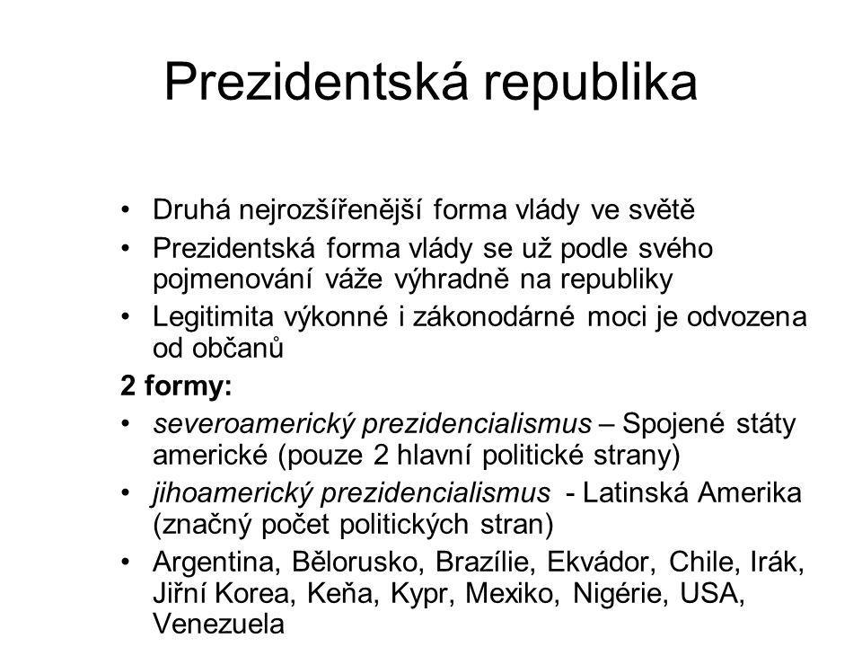 Prezidentská republika Druhá nejrozšířenější forma vlády ve světě Prezidentská forma vlády se už podle svého pojmenování váže výhradně na republiky Le
