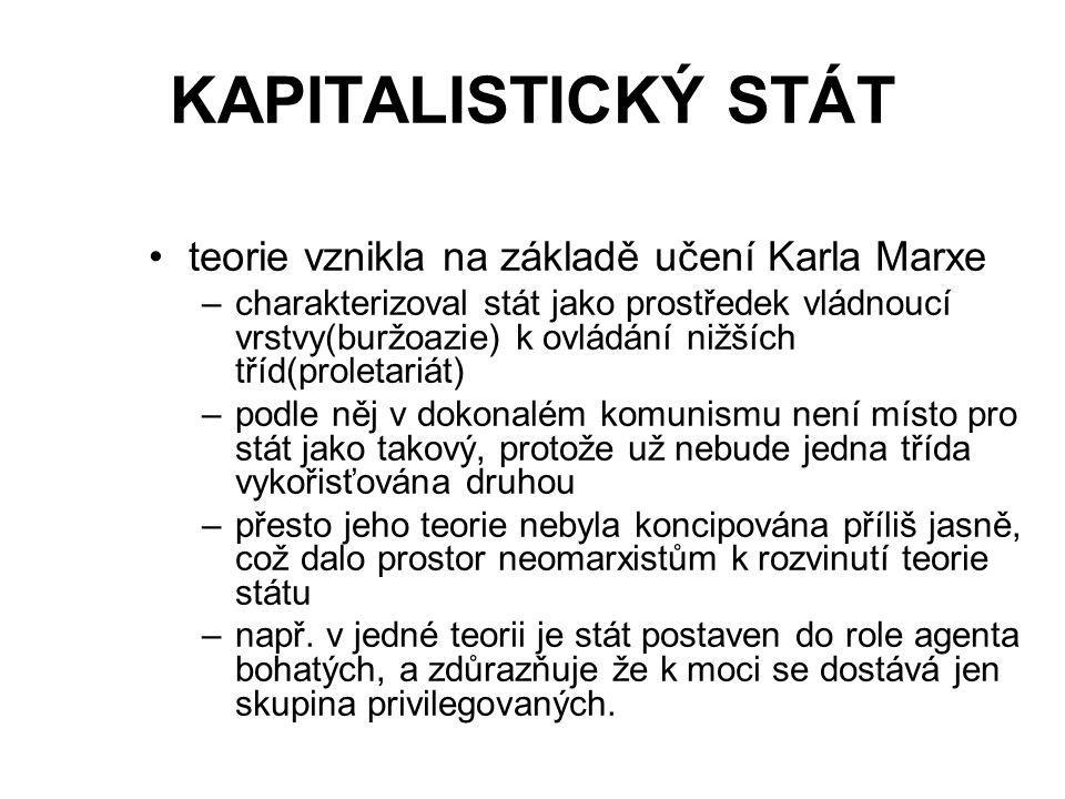 KAPITALISTICKÝ STÁT teorie vznikla na základě učení Karla Marxe –charakterizoval stát jako prostředek vládnoucí vrstvy(buržoazie) k ovládání nižších t
