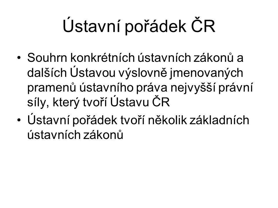 Ústavní pořádek ČR Souhrn konkrétních ústavních zákonů a dalších Ústavou výslovně jmenovaných pramenů ústavního práva nejvyšší právní síly, který tvoř