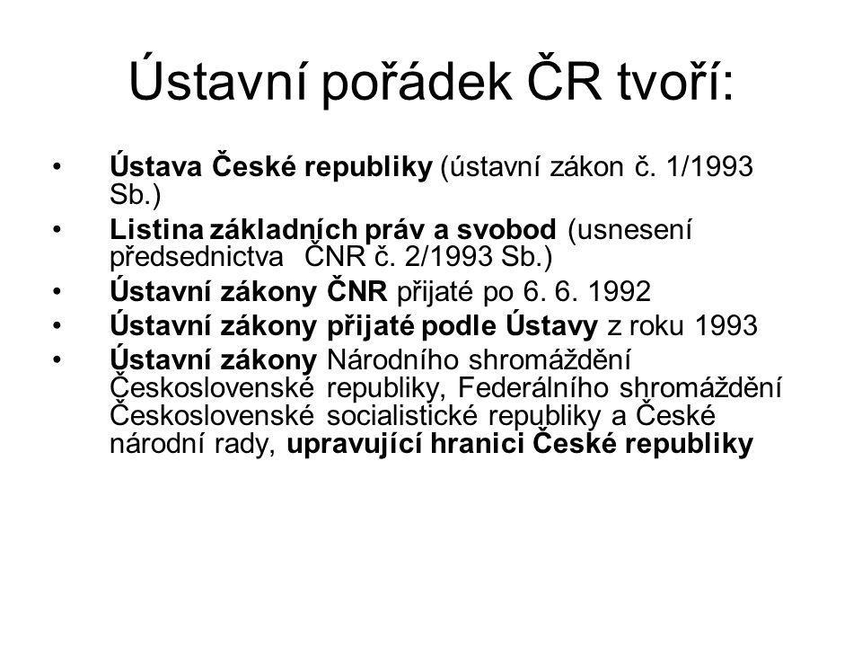 Ústavní pořádek ČR tvoří: Ústava České republiky (ústavní zákon č. 1/1993 Sb.) Listina základních práv a svobod (usnesení předsednictva ČNR č. 2/1993