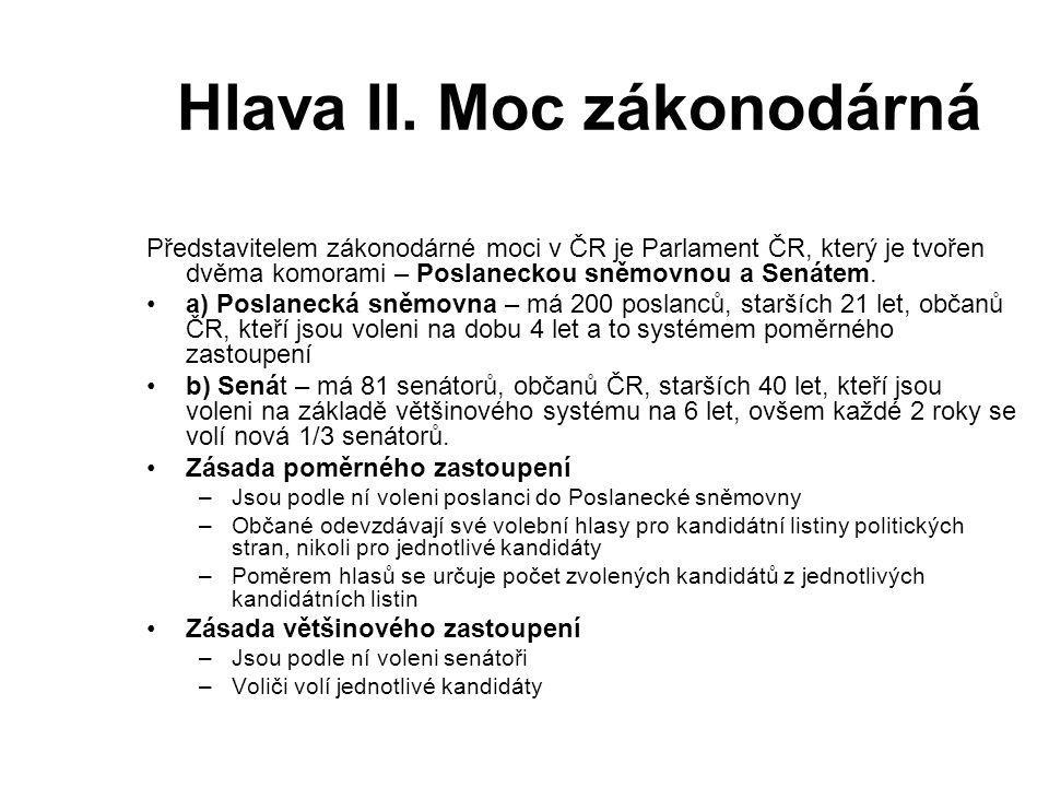 Hlava II. Moc zákonodárná Představitelem zákonodárné moci v ČR je Parlament ČR, který je tvořen dvěma komorami – Poslaneckou sněmovnou a Senátem. a) P