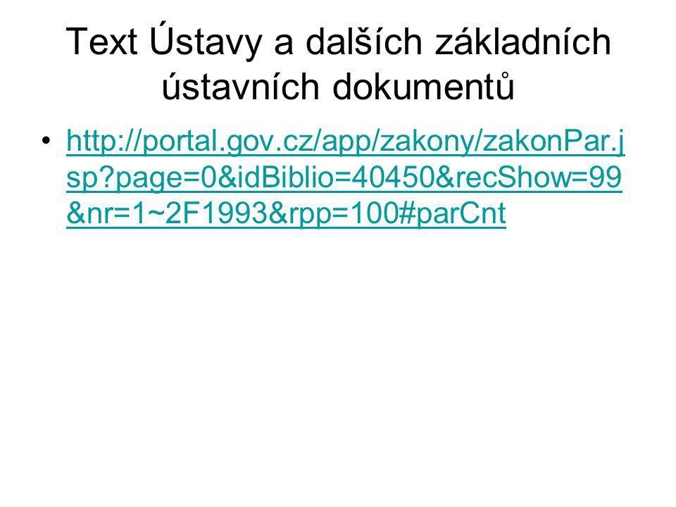 Text Ústavy a dalších základních ústavních dokumentů http://portal.gov.cz/app/zakony/zakonPar.j sp?page=0&idBiblio=40450&recShow=99 &nr=1~2F1993&rpp=1