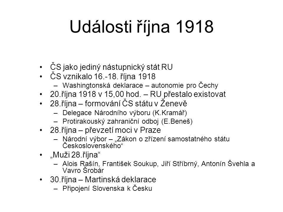 Události října 1918 ČS jako jediný nástupnický stát RU ČS vznikalo 16.-18. října 1918 –Washingtonská deklarace – autonomie pro Čechy 20.října 1918 v 1