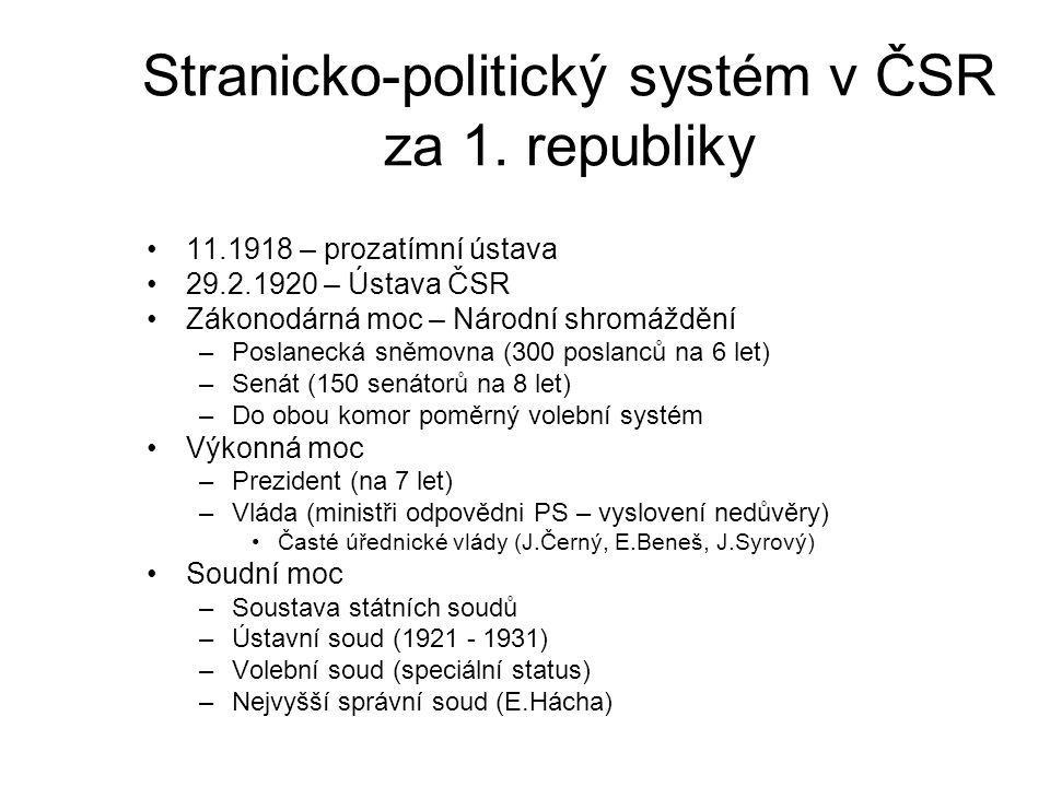 Stranicko-politický systém v ČSR za 1. republiky 11.1918 – prozatímní ústava 29.2.1920 – Ústava ČSR Zákonodárná moc – Národní shromáždění –Poslanecká