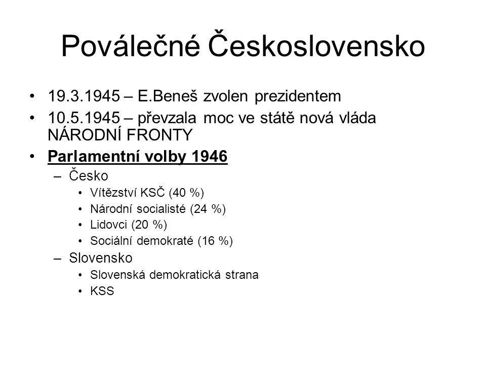 Poválečné Československo 19.3.1945 – E.Beneš zvolen prezidentem 10.5.1945 – převzala moc ve státě nová vláda NÁRODNÍ FRONTY Parlamentní volby 1946 –Če