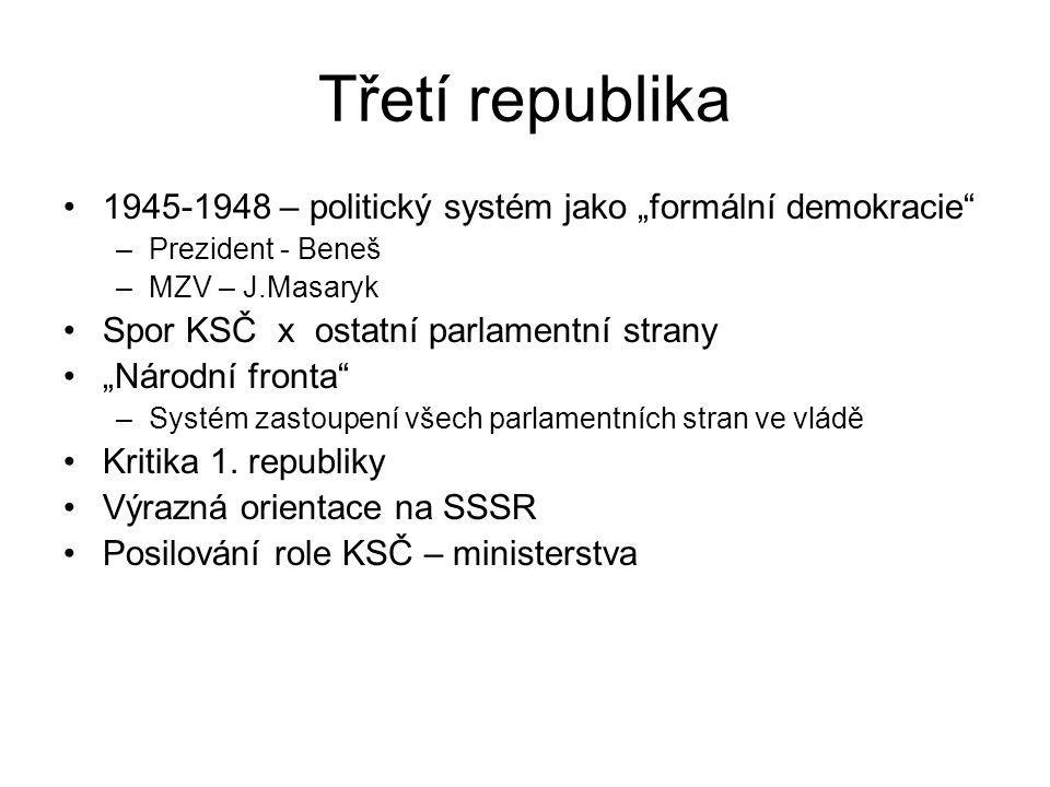 """Třetí republika 1945-1948 – politický systém jako """"formální demokracie"""" –Prezident - Beneš –MZV – J.Masaryk Spor KSČ x ostatní parlamentní strany """"Nár"""