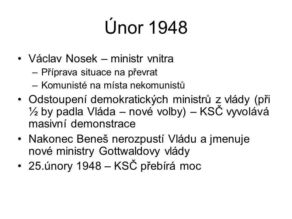 Únor 1948 Václav Nosek – ministr vnitra –Příprava situace na převrat –Komunisté na místa nekomunistů Odstoupení demokratických ministrů z vlády (při ½