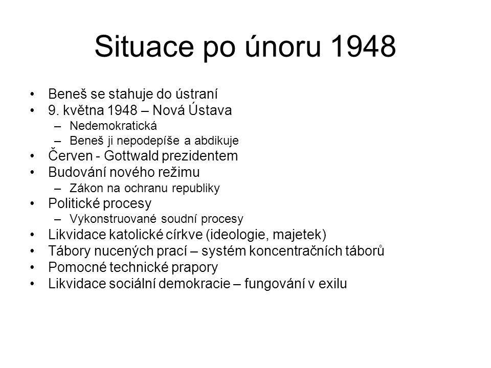 Situace po únoru 1948 Beneš se stahuje do ústraní 9. května 1948 – Nová Ústava –Nedemokratická –Beneš ji nepodepíše a abdikuje Červen - Gottwald prezi