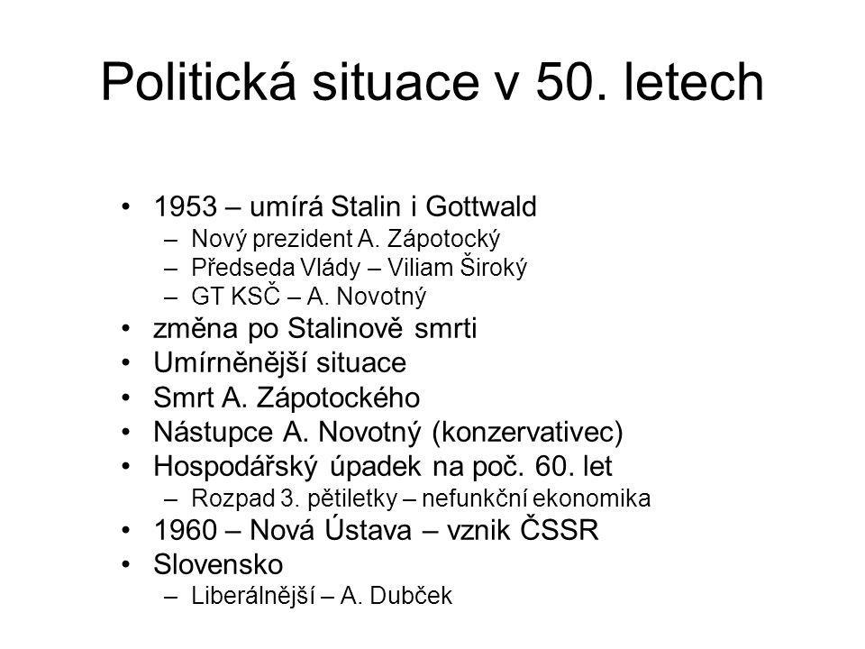 Politická situace v 50. letech 1953 – umírá Stalin i Gottwald –Nový prezident A. Zápotocký –Předseda Vlády – Viliam Široký –GT KSČ – A. Novotný změna