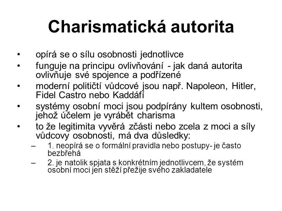 Charismatická autorita opírá se o sílu osobnosti jednotlivce funguje na principu ovlivňování - jak daná autorita ovlivňuje své spojence a podřízené mo