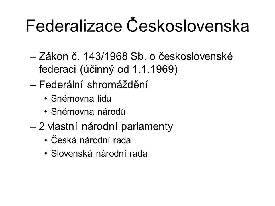 Federalizace Československa –Zákon č. 143/1968 Sb. o československé federaci (účinný od 1.1.1969) –Federální shromáždění Sněmovna lidu Sněmovna národů