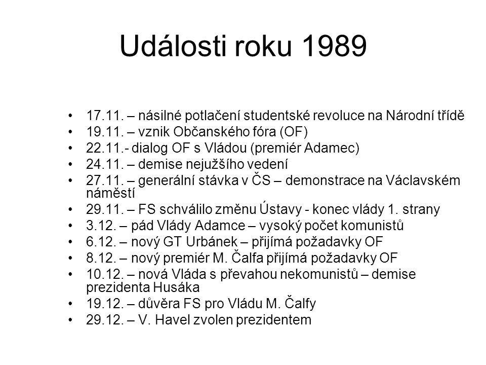 Události roku 1989 17.11. – násilné potlačení studentské revoluce na Národní třídě 19.11. – vznik Občanského fóra (OF) 22.11.- dialog OF s Vládou (pre