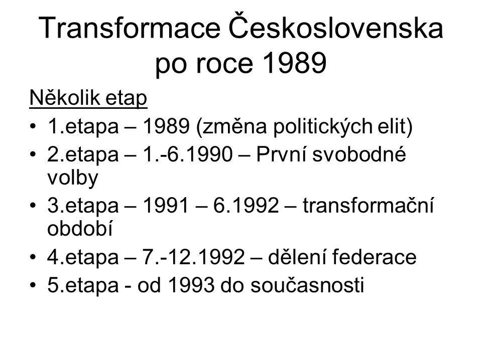Transformace Československa po roce 1989 Několik etap 1.etapa – 1989 (změna politických elit) 2.etapa – 1.-6.1990 – První svobodné volby 3.etapa – 199