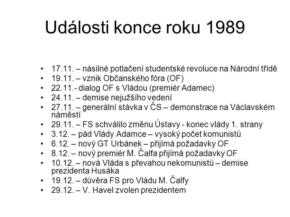 Události konce roku 1989 17.11. – násilné potlačení studentské revoluce na Národní třídě 19.11. – vznik Občanského fóra (OF) 22.11.- dialog OF s Vládo