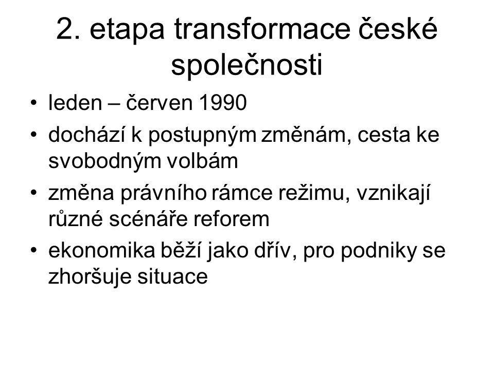 2. etapa transformace české společnosti leden – červen 1990 dochází k postupným změnám, cesta ke svobodným volbám změna právního rámce režimu, vznikaj