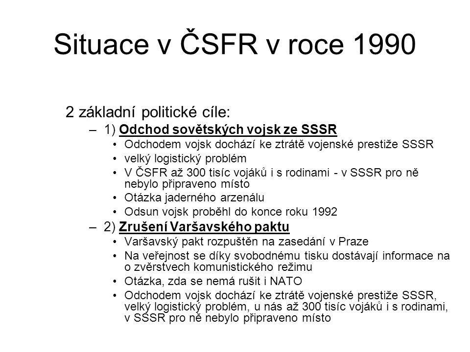 Situace v ČSFR v roce 1990 2 základní politické cíle: –1) Odchod sovětských vojsk ze SSSR Odchodem vojsk dochází ke ztrátě vojenské prestiže SSSR velk