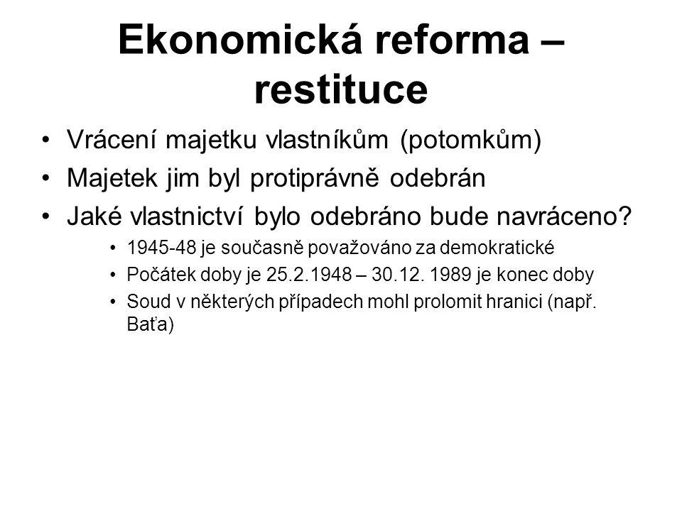 Ekonomická reforma – restituce Vrácení majetku vlastníkům (potomkům) Majetek jim byl protiprávně odebrán Jaké vlastnictví bylo odebráno bude navráceno