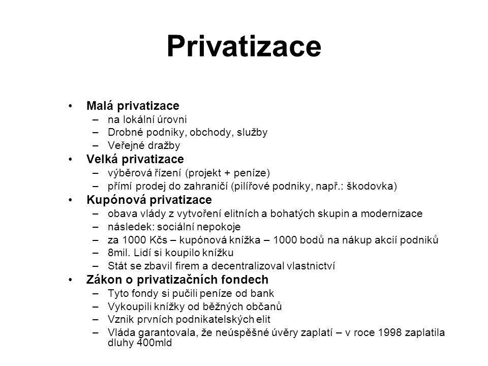 Privatizace Malá privatizace –na lokální úrovni –Drobné podniky, obchody, služby –Veřejné dražby Velká privatizace –výběrová řízení (projekt + peníze)