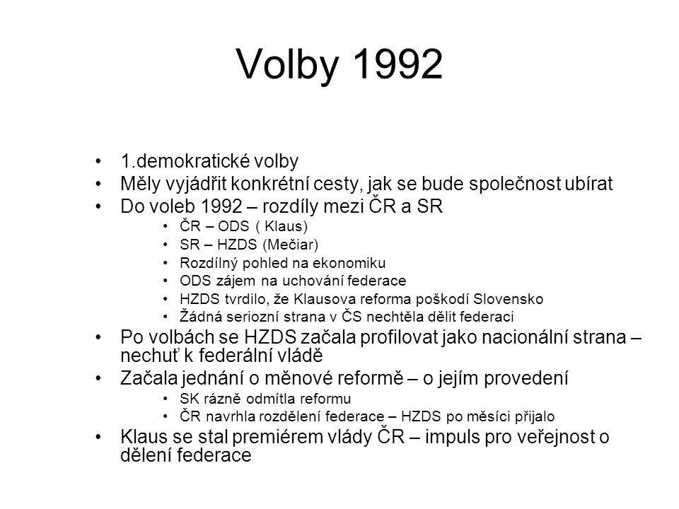 Volby 1992 1.demokratické volby Měly vyjádřit konkrétní cesty, jak se bude společnost ubírat Do voleb 1992 – rozdíly mezi ČR a SR ČR – ODS ( Klaus) SR