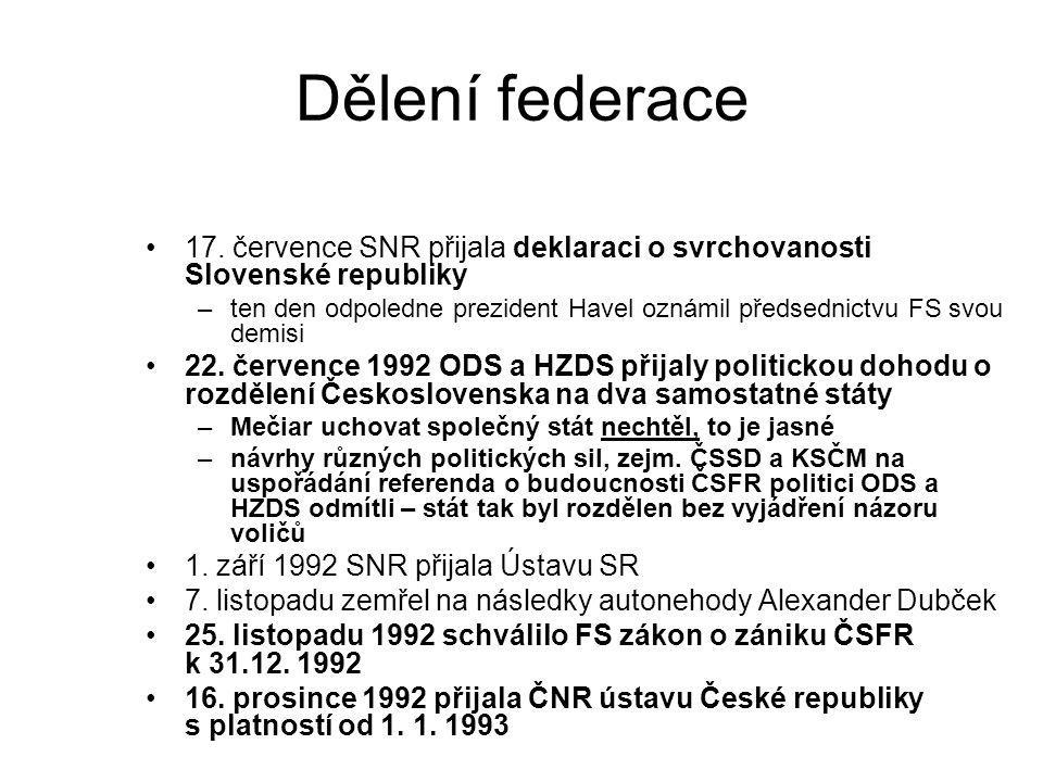 Dělení federace 17. července SNR přijala deklaraci o svrchovanosti Slovenské republiky –ten den odpoledne prezident Havel oznámil předsednictvu FS svo