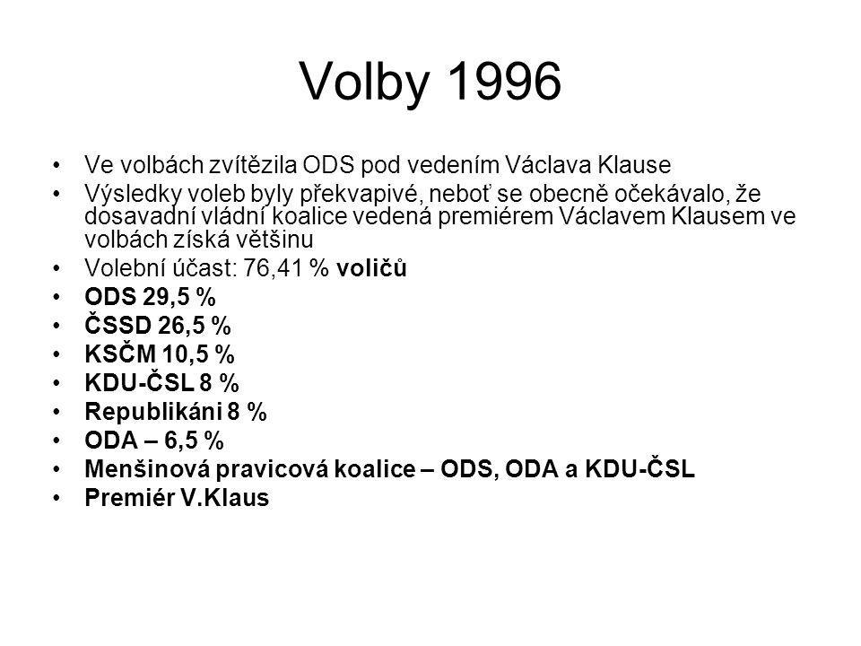 Volby 1996 Ve volbách zvítězila ODS pod vedením Václava Klause Výsledky voleb byly překvapivé, neboť se obecně očekávalo, že dosavadní vládní koalice