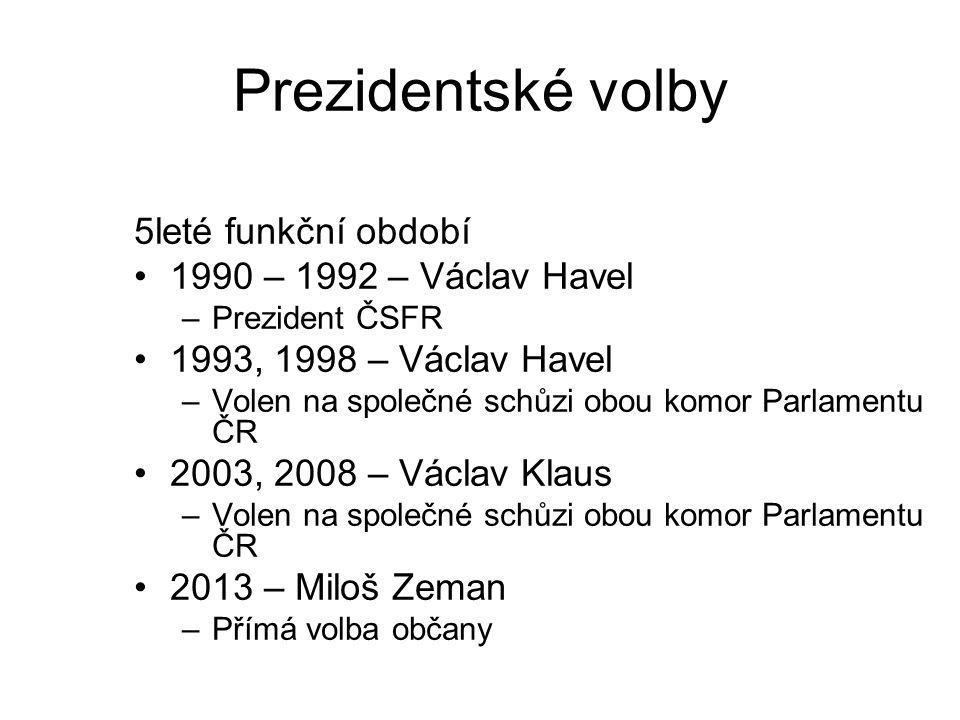Prezidentské volby 5leté funkční období 1990 – 1992 – Václav Havel –Prezident ČSFR 1993, 1998 – Václav Havel –Volen na společné schůzi obou komor Parl