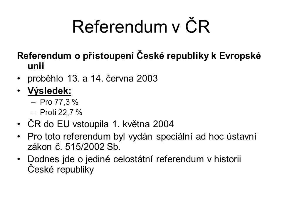 Referendum v ČR Referendum o přistoupení České republiky k Evropské unii proběhlo 13. a 14. června 2003 Výsledek: –Pro 77,3 % –Proti 22,7 % ČR do EU v