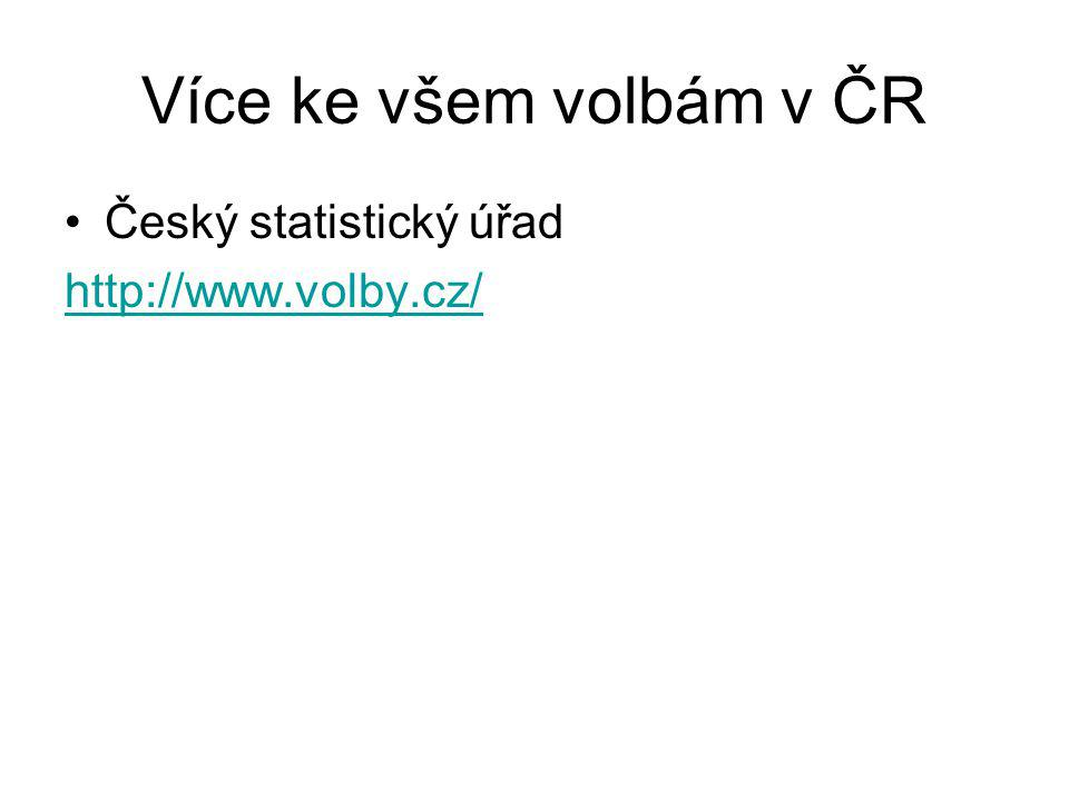 Více ke všem volbám v ČR Český statistický úřad http://www.volby.cz/
