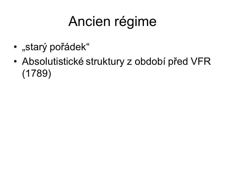"""Ancien régime """"starý pořádek"""" Absolutistické struktury z období před VFR (1789)"""