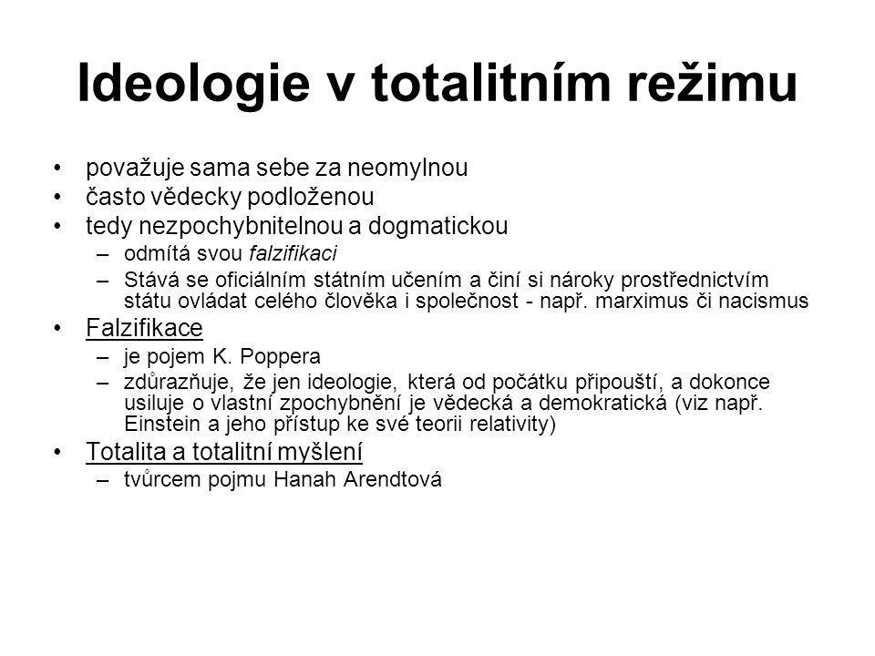 Ideologie v totalitním režimu považuje sama sebe za neomylnou často vědecky podloženou tedy nezpochybnitelnou a dogmatickou –odmítá svou falzifikaci –
