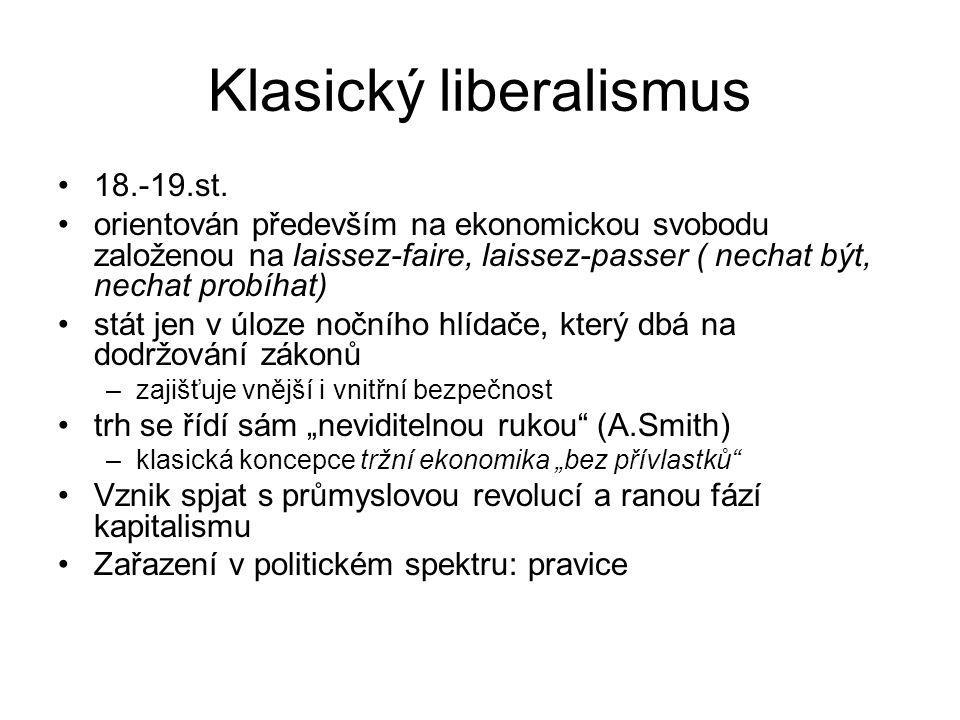 Klasický liberalismus 18.-19.st. orientován především na ekonomickou svobodu založenou na laissez-faire, laissez-passer ( nechat být, nechat probíhat)