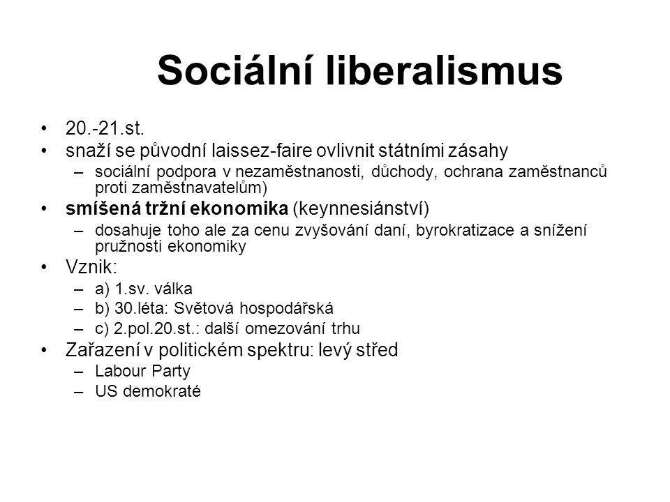 Sociální liberalismus 20.-21.st. snaží se původní laissez-faire ovlivnit státními zásahy –sociální podpora v nezaměstnanosti, důchody, ochrana zaměstn