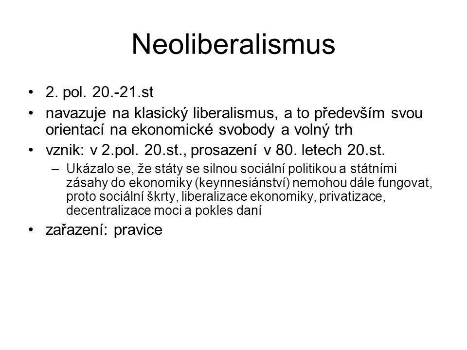 Neoliberalismus 2. pol. 20.-21.st navazuje na klasický liberalismus, a to především svou orientací na ekonomické svobody a volný trh vznik: v 2.pol. 2