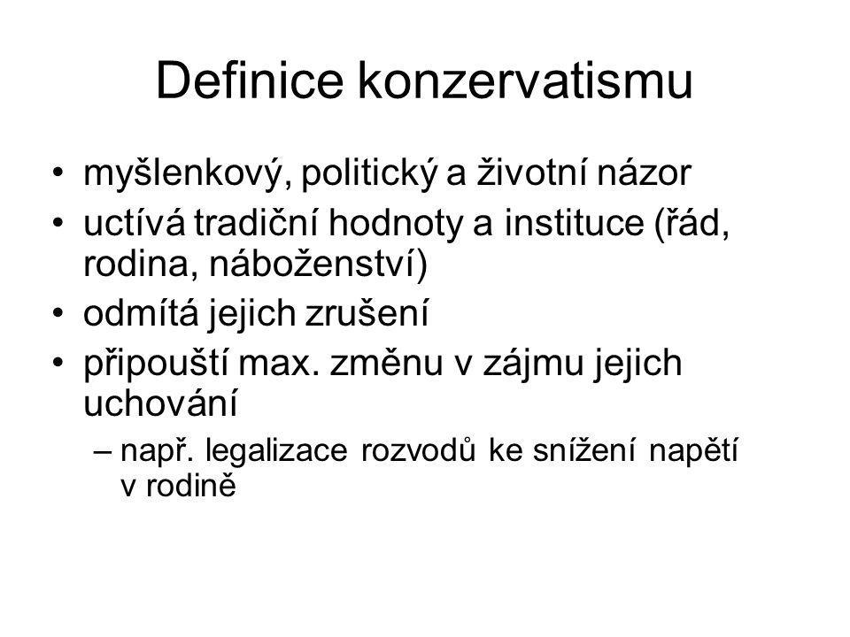 Definice konzervatismu myšlenkový, politický a životní názor uctívá tradiční hodnoty a instituce (řád, rodina, náboženství) odmítá jejich zrušení přip