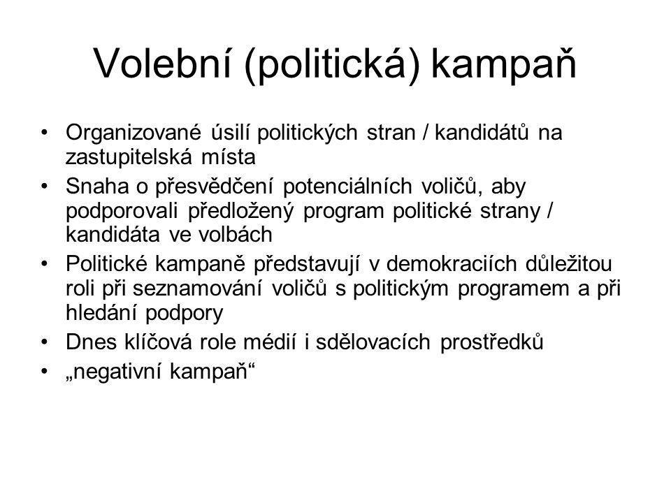 Volební (politická) kampaň Organizované úsilí politických stran / kandidátů na zastupitelská místa Snaha o přesvědčení potenciálních voličů, aby podpo