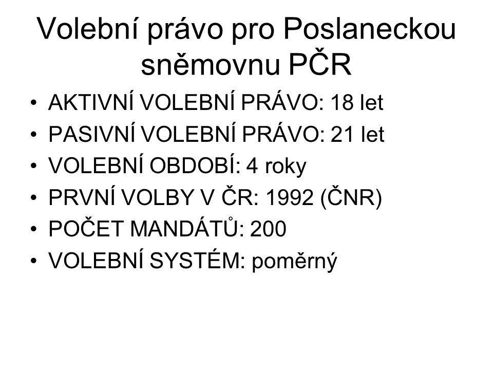 Volební právo pro Poslaneckou sněmovnu PČR AKTIVNÍ VOLEBNÍ PRÁVO: 18 let PASIVNÍ VOLEBNÍ PRÁVO: 21 let VOLEBNÍ OBDOBÍ: 4 roky PRVNÍ VOLBY V ČR: 1992 (